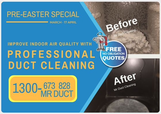 Easter is coming! From Now till Easter take advantage of our Pre-Winter Special from $199. To schedule now, call us on 1300 673 828 or visit our website: www.mrductcleaning.com.au
