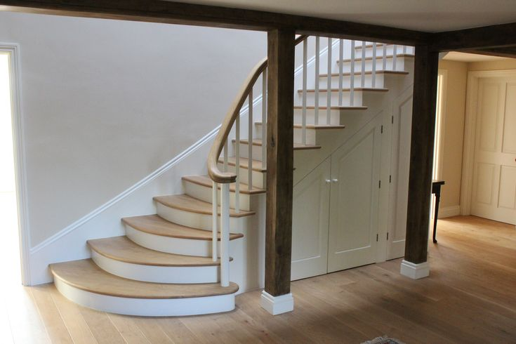 Internal Stairs with hand carved Oak Handrail and Oak treads in Denston, Newmarket, Suffolk