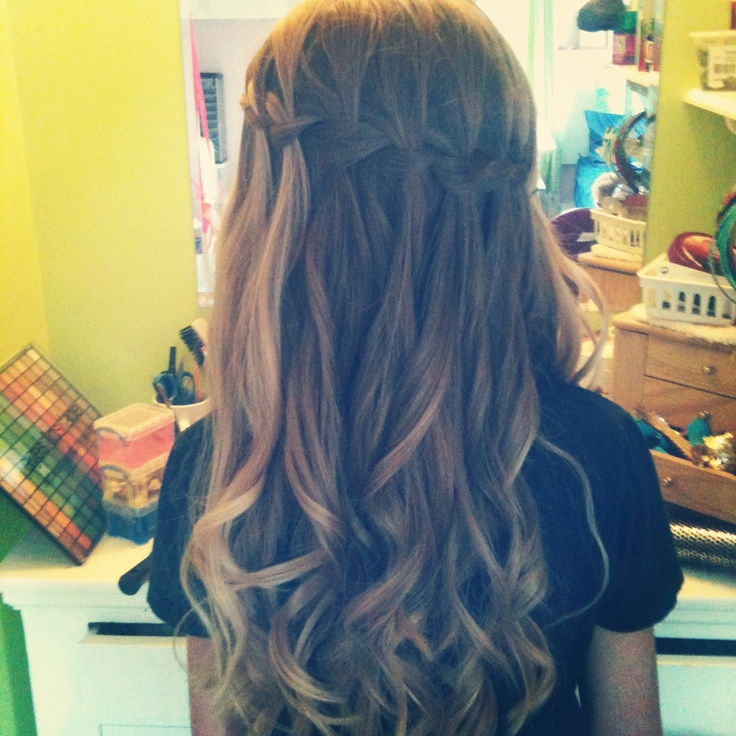Waterfall braid with loose curls | Hairstyles | Pinterest ...