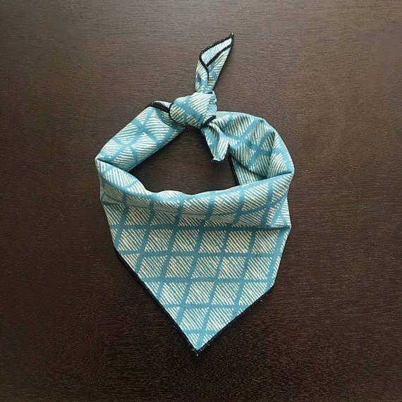 Teal Diamond Dog Bandana / Dog Clothes / Puppy Bandana / Pet Supplies / Dog Collar / Dog Accessories