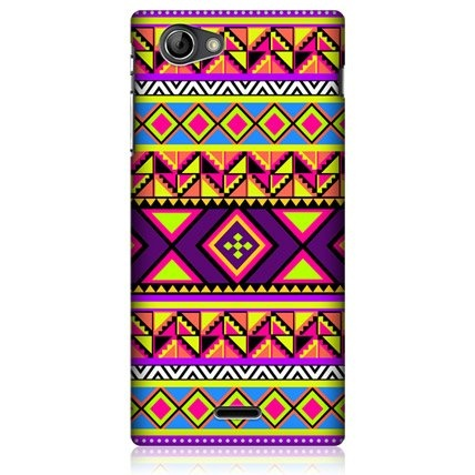 e_cell - Head Case Preppy Neon Aztec Design Glossy Hard Back Case For Sony Xperia J ST26i