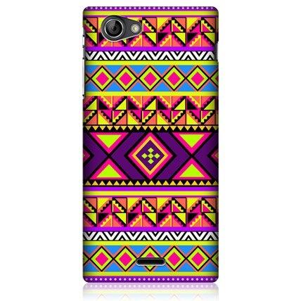 e_cell - Head Case Preppy Neon Aztec Design Glossy Hard Back Case For Sony Xperia J ST26i