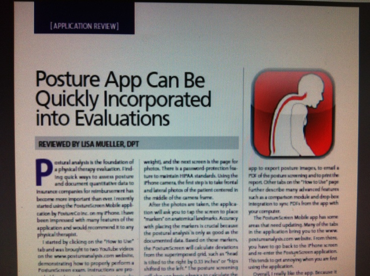 """""""PostureScreen"""" Posture App Can Be Quickly Incorporated into Evaluations-  Pinned by SOS Inc. Resources.  Follow all our boards at http://pinterest.com/sostherapy  for therapy resources."""