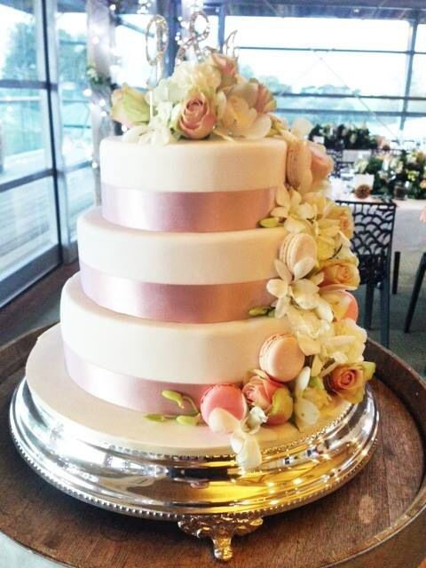 Simply Beautiful Wedding Cake Macaroons And Stunning Silver Stand At