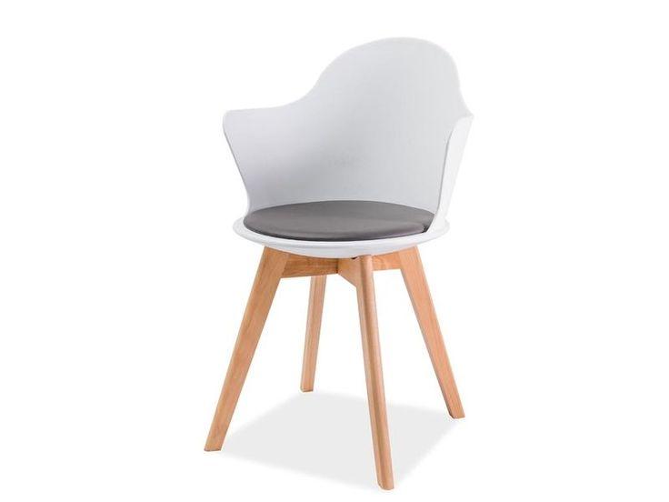 Krzesło MATTEO III do jadalni zachwyca intrygującym kształtem siedziska, które wykonane zostało z białego polipropylenu o wysokiej wytrzymałości. Na siedzisku znajduje się miękka poduszka tapicerowana eko-skórą w kolorze szarym.