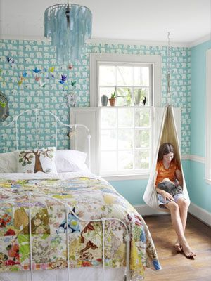 Release your inner child with teal walls and nature-inspired decorations!: Kids Bedrooms, Colors Bedrooms, Girls Bedrooms, Reading Nooks, Beds Frames, Hanging Chairs, Bedrooms Ideas, Girls Rooms, Kids Rooms