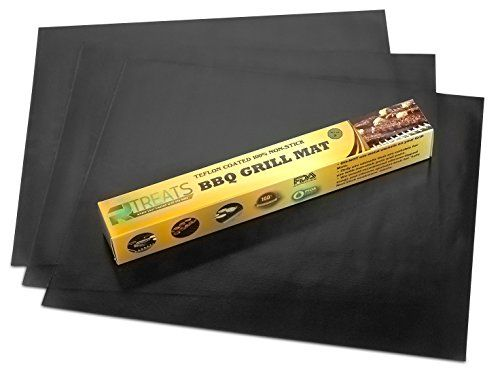 RL Treats - Extra Thick Non Stick Grill Mat - BBQ Grilling Accessories - Sheets for Gas Grills - Set of 3 Mats - 15.75 x 13 - Teflon Coated - http://grills.nationalsales.com/rl-treats-extra-thick-non-stick-grill-mat-bbq-grilling-accessories-sheets-for-gas-grills-set-of-3-mats-15-75-x-13-teflon-coated/