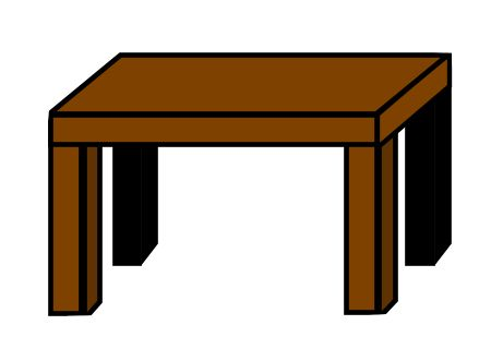 Very simple cartoon table drawn in six steps.