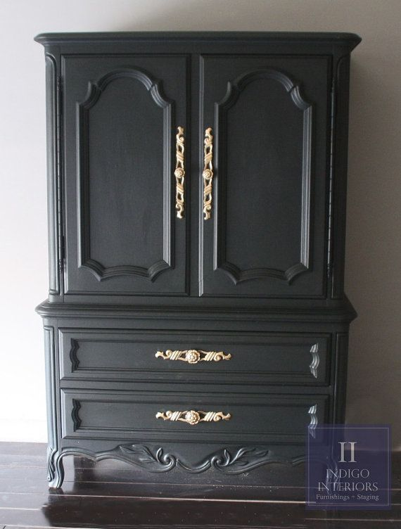 Black And Gold French Provincial Tall Dresser Chest