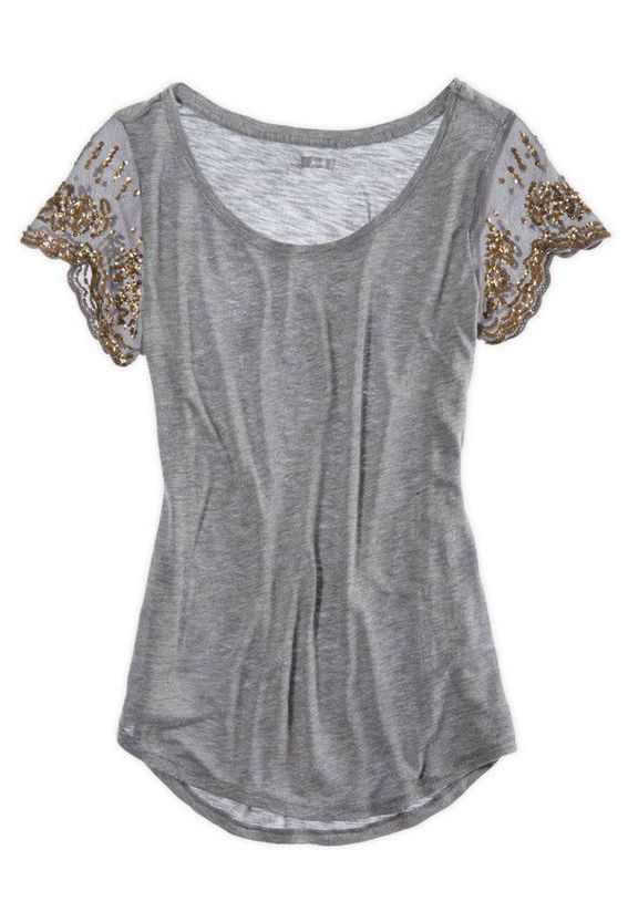 Dark Heather Grey top with glitter gold embellished sleeves. LOVE THIS. could maybe even diy?