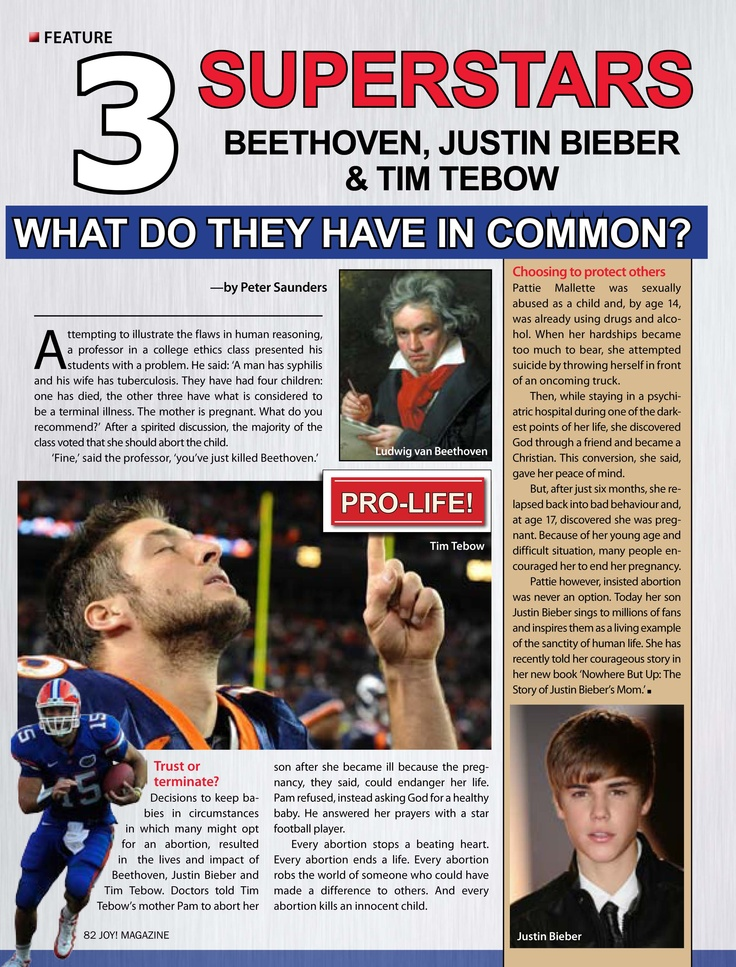 3 Superstars Beethoven, Justin Bieber and Tim Tebow - WHAT DO THEY HAVE IN COMMON?