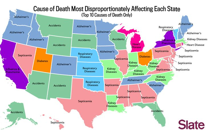 """""""You Live in Alabama. Here's How You're Going to Die"""" — a set of maps of the causes and relative frequency of death in each US state."""