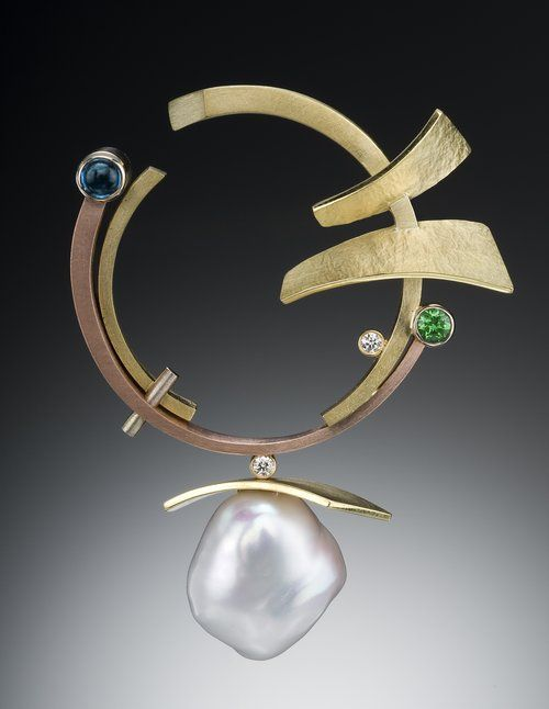 multi colored gold, pearl, appatite, tsavorite garnet, diamond