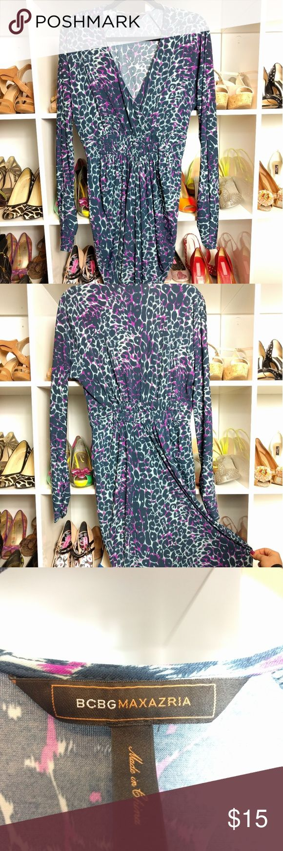 BCBG dress leopard long sleeve This BCBG MAX dress is blue and purple leopard like pattern with a shirred waisted middle and shirred lower section of the sleeves. BCBGMaxAzria Dresses Midi