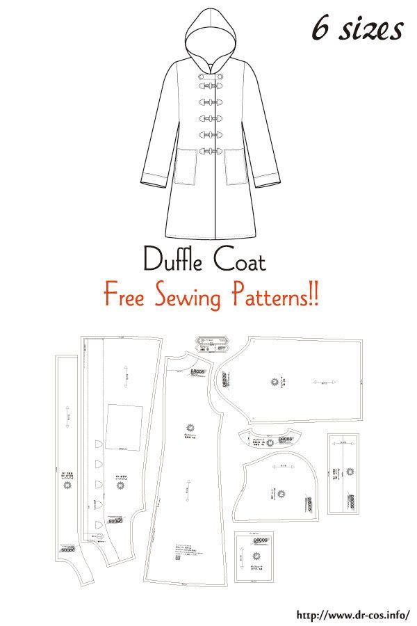 Jacket Patterns Free : jacket, patterns, Duffle, Sewing, Patterns, Pattern, Sewing,, Jacket, Hoodie