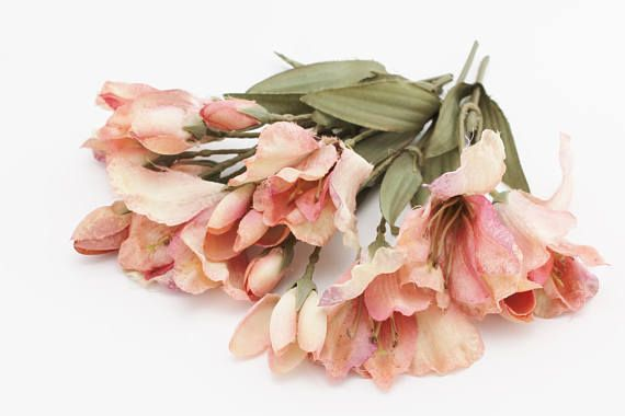 WHAT: Vintage Dusty Pink Alstroemeria - Please note this is an older offering, so the petals are somewhat floppy, but very interesting flowers!  SIZE: 5.5 to 7 Inches  QUANTITY: Set of 5 short stems  ***** FLOWERS ARE HEADS or PETALS ONLY. Stems not included unless stated within listing. *****  ** Items may be bent for shipping and will require straightening upon receipt **  - AS-IS FLOWERS - I do offer some As-Is items, meaning there may be some sort of defect or blemish or something with…