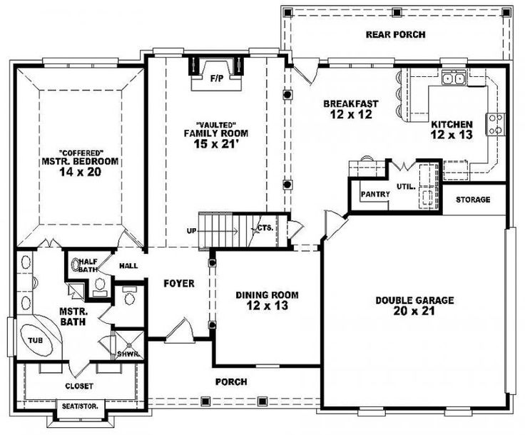 Awesome One And A Half Story House Plans #9: One And A Half Story 3 Bedroom, Bath French Traditional Style House Plan : House  Plans, Floor Plans, Home Plans, Plan It At Ho.