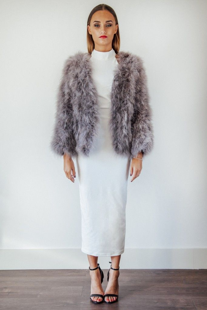 Grey Ostrich Feather coat