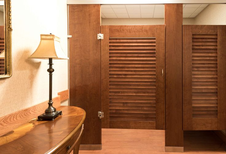 18 best wood veneer toilet partitions images on pinterest for Louvered bathroom stall doors