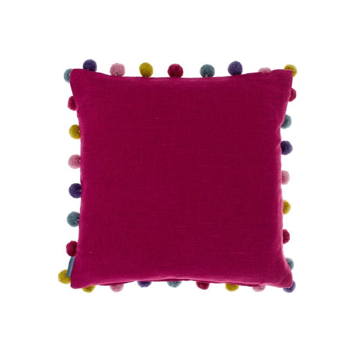 Add some vibrant solid colour to home interiors with this elegant Bluebellgray cushion created with quality linen and trims. The cerise pompom square cushion is a rich signature Bluebellgray cushion with jewel toned contrasting pompoms to add some variety and a splash of colour and texture to armchairs and sofas.