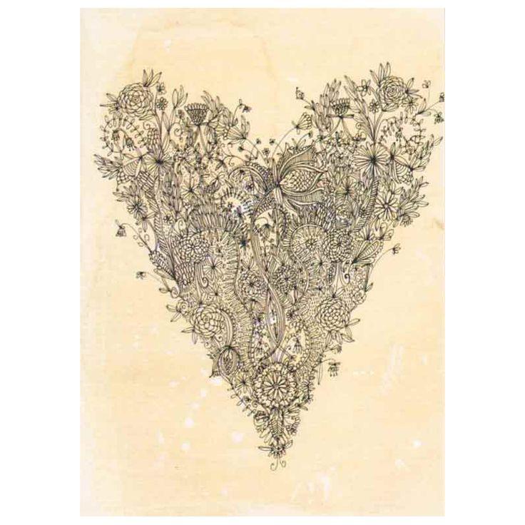Ornate Black Heart  Card