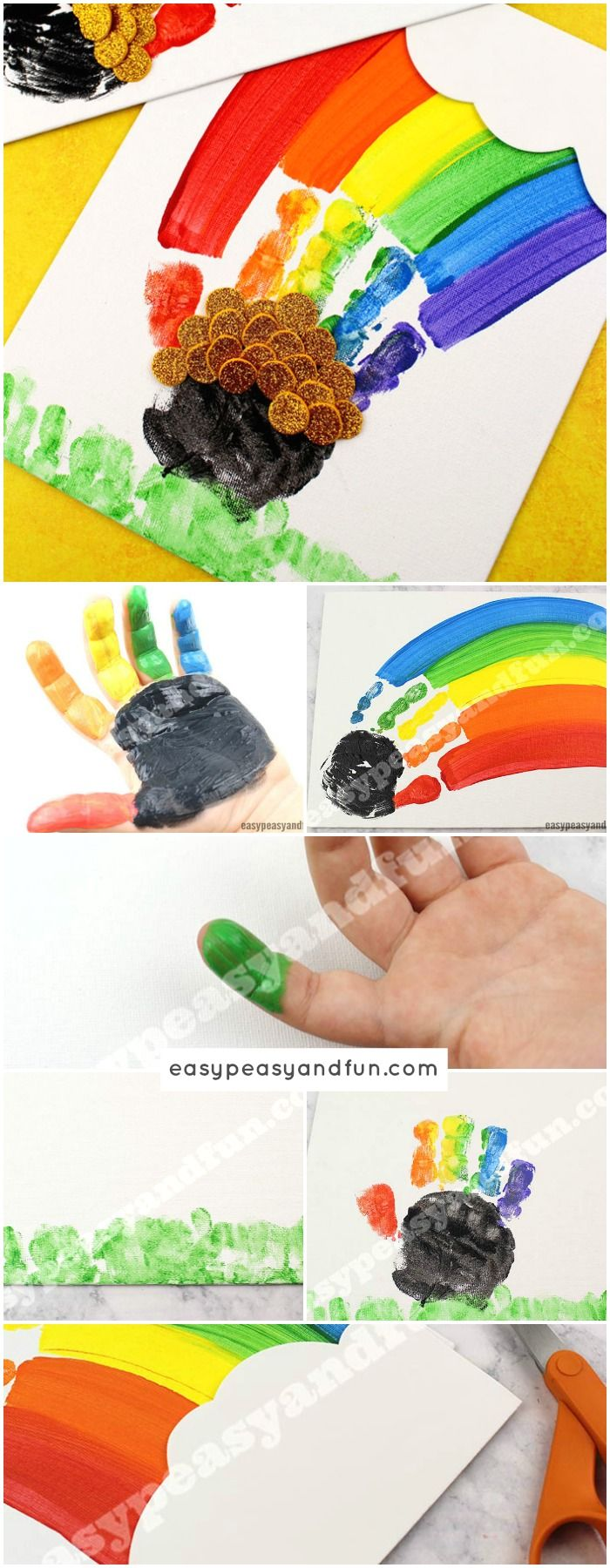 St. Patrick's Day Handprint Rainbow Art Idea for Kids #Handprintart #Rainbowart #artforkids