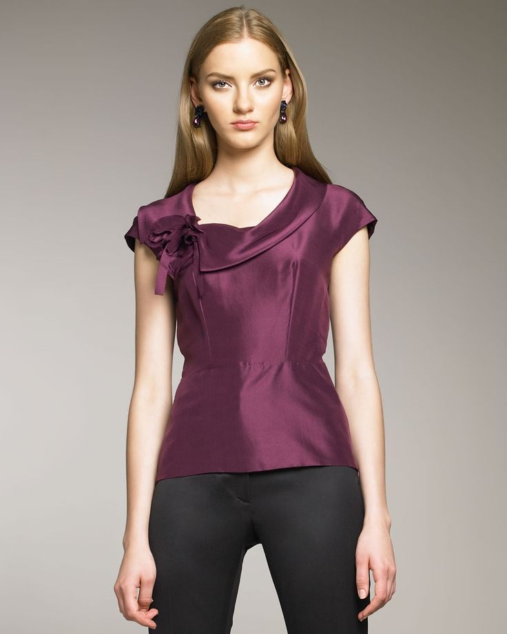 Oscar De La Renta Rosette Shantung Blouse in Purple (plum) | Lyst