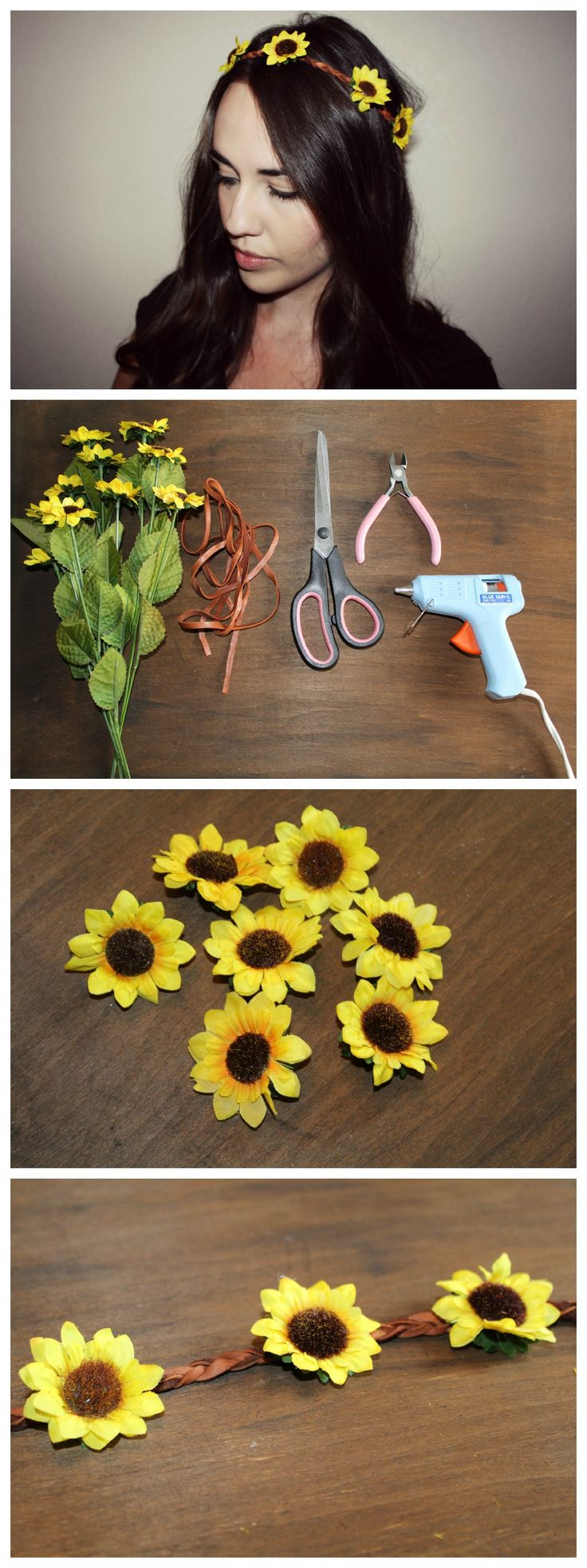 The Chic Country Girl: DIY Floral Crown Headband http://thechiccountrygirl.blogspot.com/2014/07/diy-fashion-boho-sunflower-headband.html