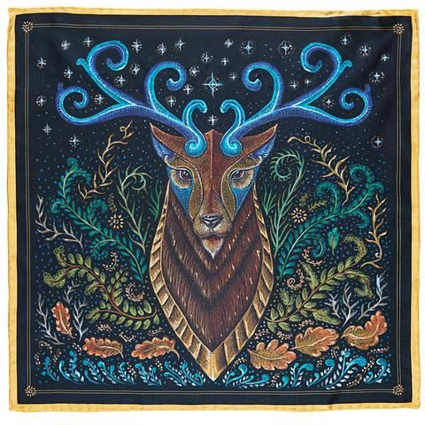 "ArtWork ""Stag Totem"" on Silk Twill. R. Culturi Collection of Pocket Square"