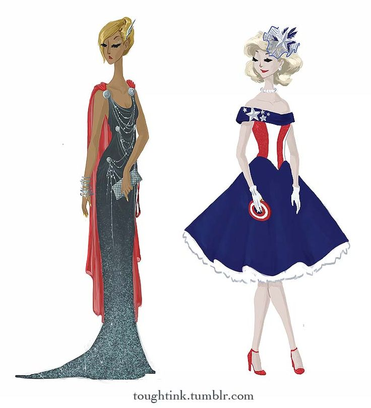 Avengers inspired dresses: Thor and Captain America.