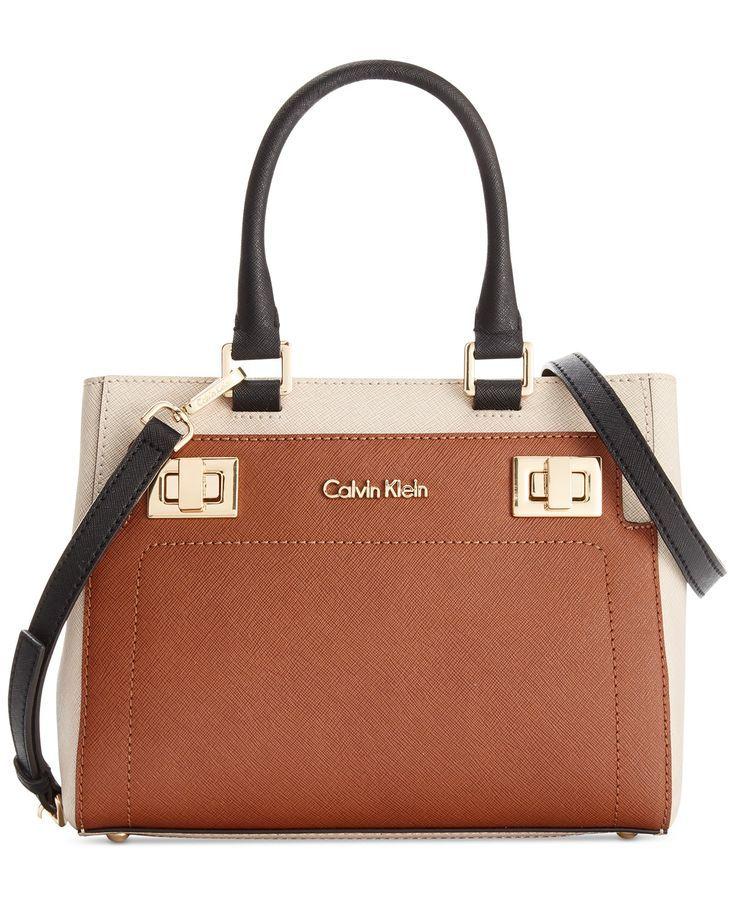 Calvin Klein Ashley Saffiano Crossbody - Designer Handbags - Handbags & Accessories - Macy's | LOVE this in black/white and luggage combo