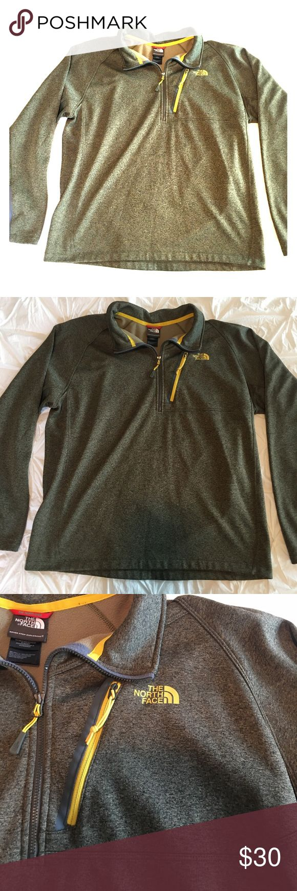 Northface 1/4 Zip Heather Green/Yellow New condition! Heather green with yellow zipper and logo. Fits true to size. The North Face Sweaters Crewneck