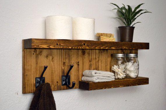 27 Width X 9 Height X 4 Depth Modern 2 Tier Shelf Bathroom Towel Rack 2 Bronze Robe Hooks