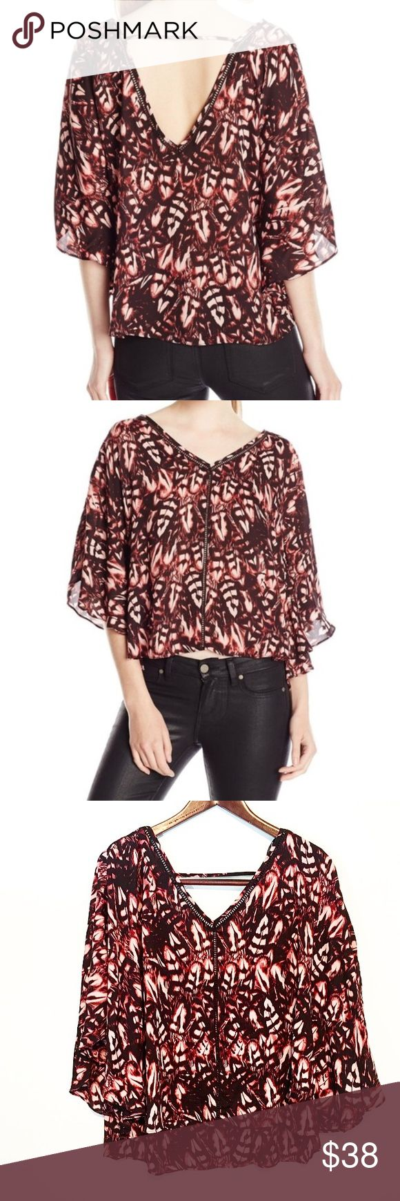 Jessica Simpson Reece Feather Print Batwing Top Such an interesting, unique piece! A feather, floral, almost animal like print. Pink and black coloring, probably closest to the stock photos. Batwing style sleeves and a cut out back. New! Jessica Simpson Tops Blouses
