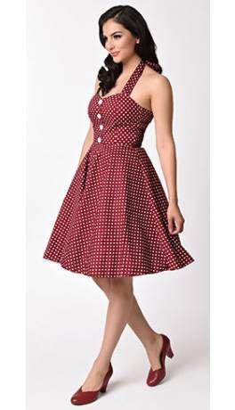 1950s Style Burgundy & White Polka Dot Halter Flare Dress | Romantic ...
