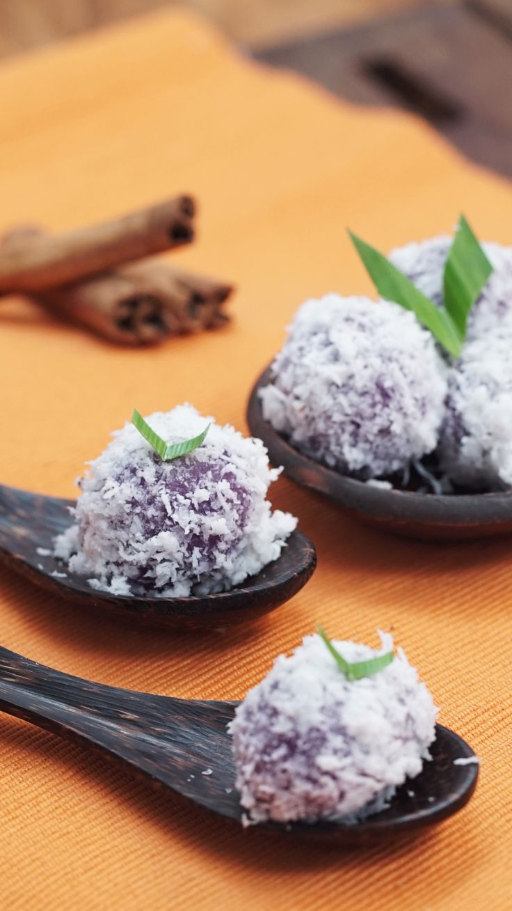 Klepon is an Indonesian street food, which popularizes the notion of one-bite snacks – just like sushi. One bite bursts the brown sugar filling out – the reason you cannot munch a half of these babies, unless you'd like to get messy!