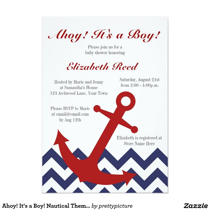 nautical theme baby shower card