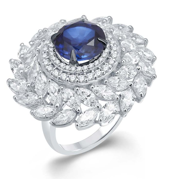 Eye of the Storm Ring  Product Code : ADR1400018 Type : Blue Hydro, Swarovski Color : Blue  #Rings, #SilverRingsForWomen, #SilverRingsForGirl, #BuySilverRingsOnlineIndia, #SilverRingsShopping, #SilverRingsShoppingOnline, #DesignerRings, #DesignerSilverRingsOnline, #BuyDesignerSilverRings