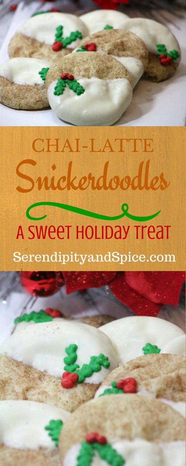 This Chai Latte Snickerdoodle Cookie Recipe is so delicious-- I make it for cookie exchanges and everyone always begs for the recipe!  These chai latte snickerdoodle cookies are dipped in white chocolate for the ultimate in holiday cheer!  SerendiptiyandSpice.com