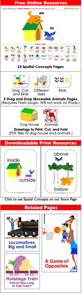 ADORABLE free resource for teaching spatial concepts. There are also size concepts and opposites available!