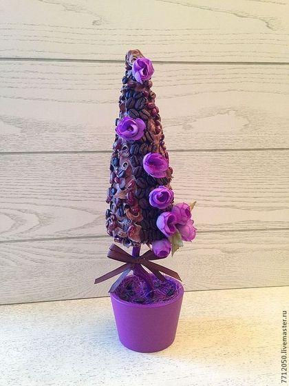"""Купить Топиарий """"Сиреневые цветы"""" Дерево счастья. - сиреневый, коричневый, кофе, топиарий, необычный топиарий"""