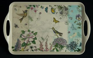 Pimpernel Melamine Serving Tray -- Botanic Hummingbird pattern, by Portmeirion, large size.