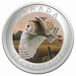 Royal Canadian Mint 25c 2013 Coloured Coin - Barn Owl $29.95