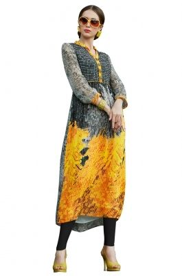 Digital Printed Faux Georgette  Kurti-S2601013 Look fresh and elegant in this one of a kind multicolor faux georgette tunic. The tunic is done in unique digital print in abstract pattern with button embellishments on the front placket. Be ready to charm onlookers in this chic and stylish attire.