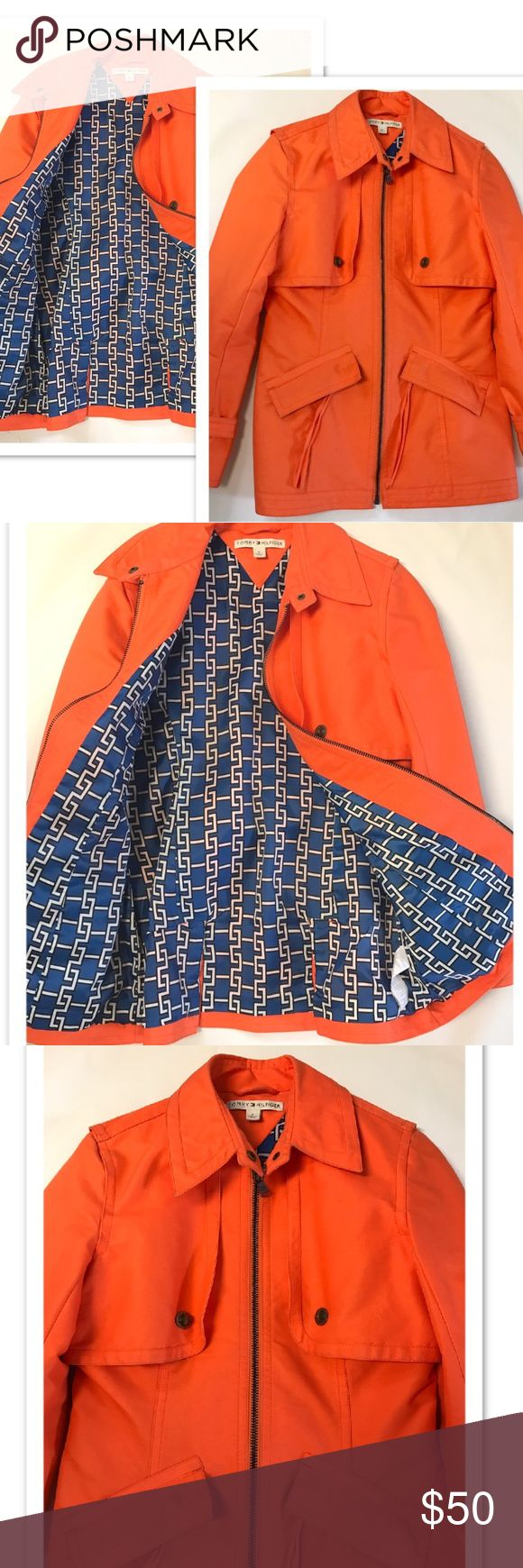 ❤️3 HOUR SALE Tommy Hilfiger Spring Jacket Size 8 Vibrant Orange Tommy Hilfiger Spring Jacket women's size 8. Blue and White print lined. Full zip front. Pristine condition! Great for spring summer any season ! Classy elegant trendy stylish. Tommy Hilfiger Jackets & Coats