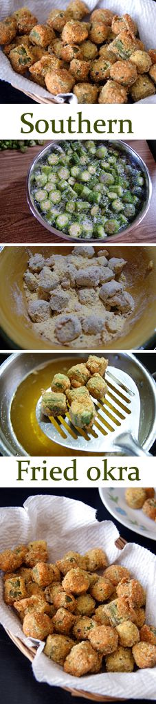 Southern Fried Okra - A perfect crispy and crunchy evening snack. It is very easy to make and you can make it in no time. Vegans can replace butter milk with non-dairy milk + lemon extract.