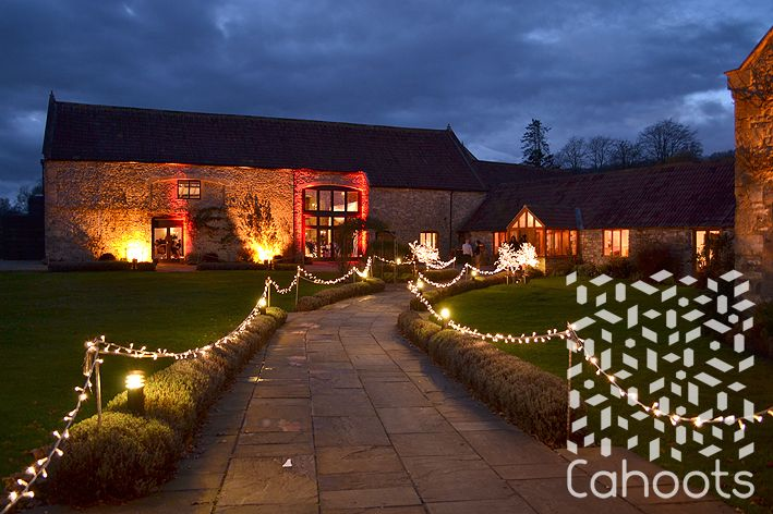 Garden decorated with outside string lighting