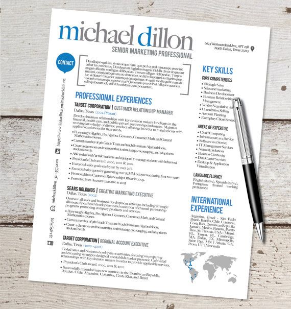 The Michael Resume Design   Graphic Design   Marketing   Sales   Real  Estate   Customer  Resume Design Service