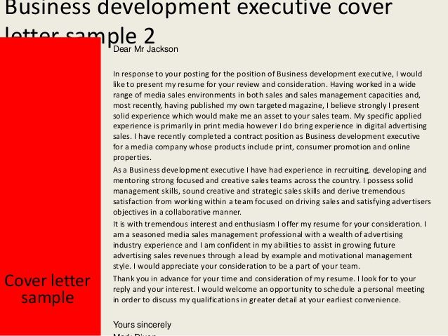 business development executive cover letter sample example