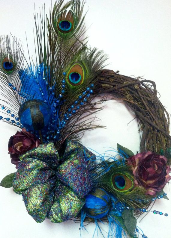 Peacock Feather Turquoise and Rose Wreath